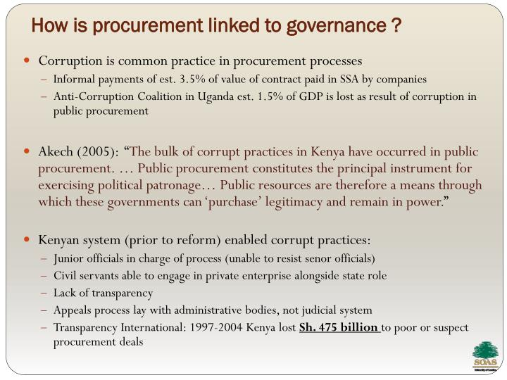 How is procurement linked to governance