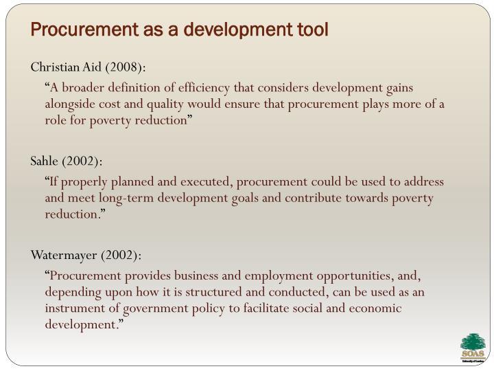 Procurement as a development tool