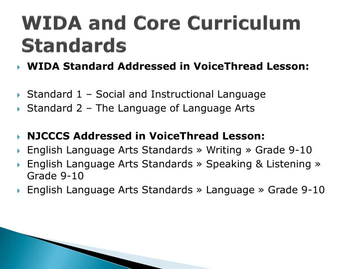 WIDA and Core Curriculum Standards