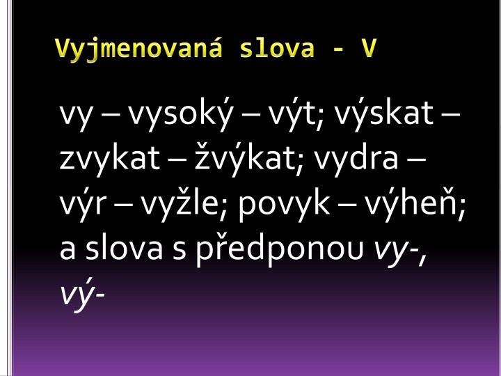 Vyjmenovaná slova - V