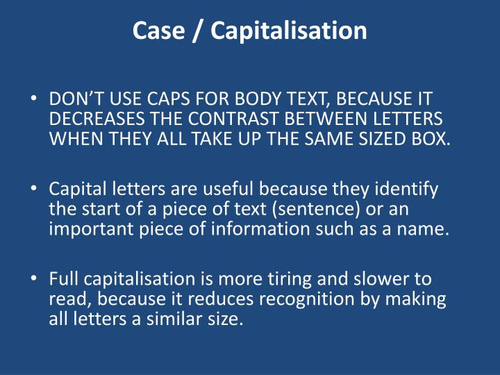 Case / Capitalisation