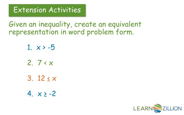 Given an inequality, create an equivalent representation in word problem form.