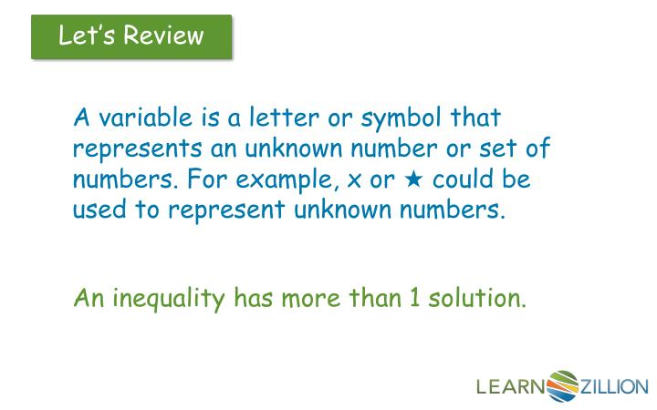 A variable is a letter or symbol that represents an unknown number or set of numbers. For example, x...