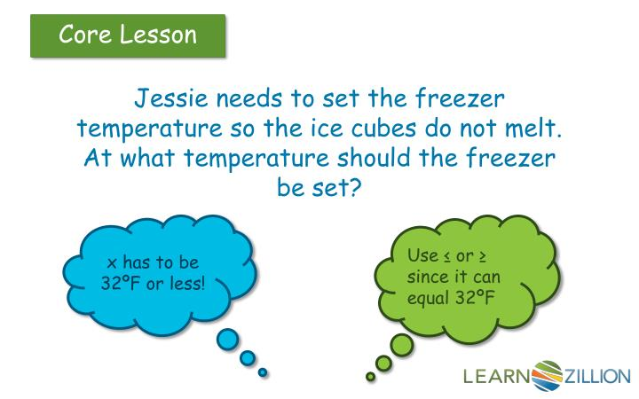 Jessie needs to set the freezer temperature so the ice cubes do not melt.  At what temperature should the freezer be set?