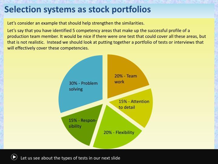 Selection systems as stock portfolios