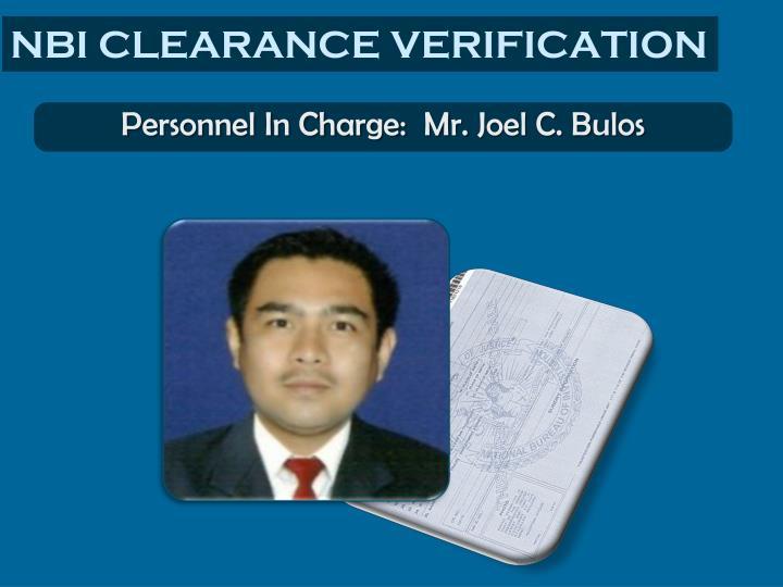 NBI CLEARANCE VERIFICATION