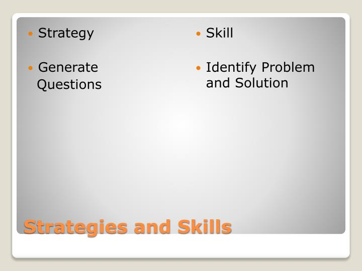 Strategies and skills