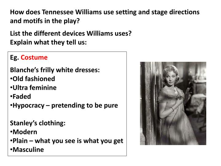 How does Tennessee Williams use setting and stage directions and motifs in the play?