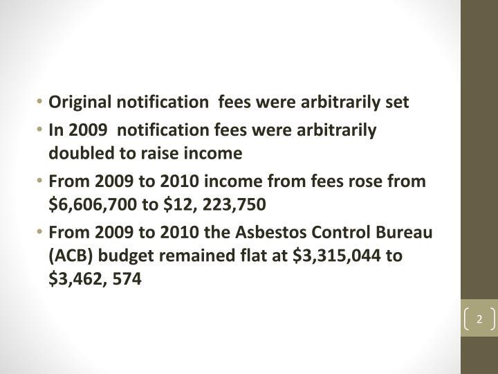 Original notification  fees were arbitrarily set