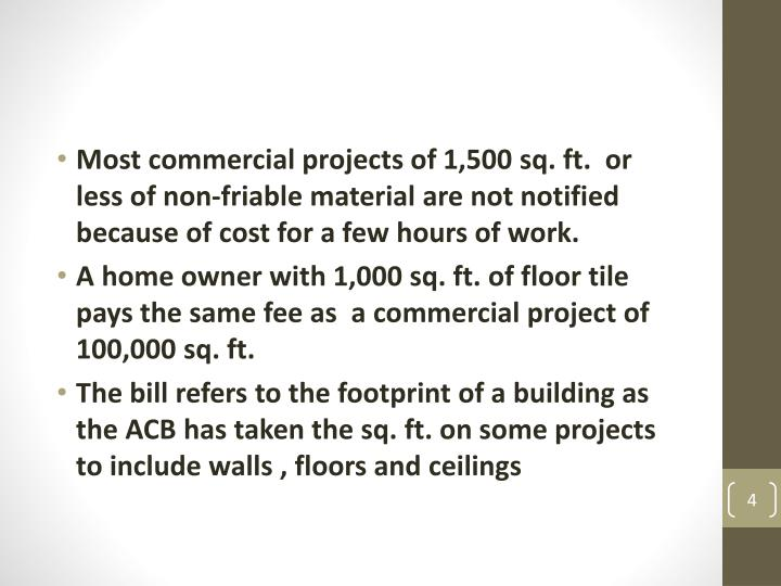 Most commercial projects of 1,500 sq. ft.  or less of non-friable material are not notified because of cost for a few hours of work.