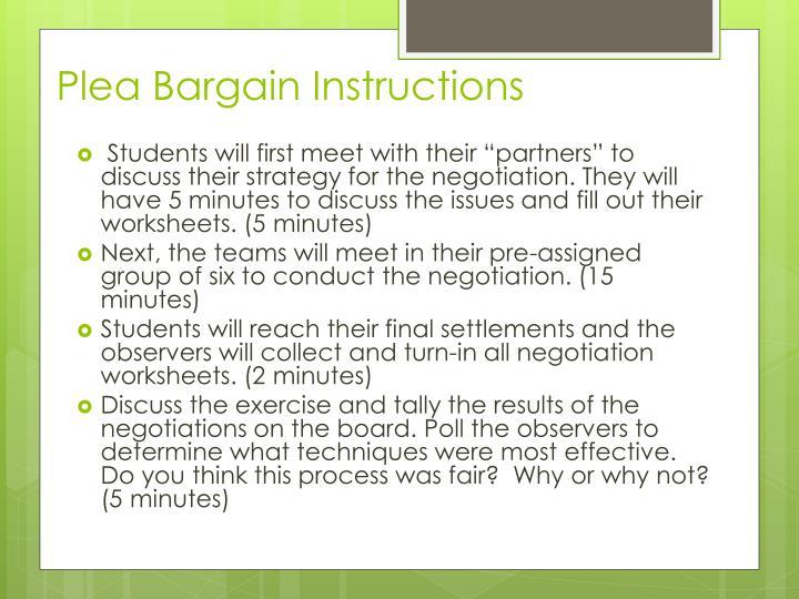 Plea Bargain Instructions