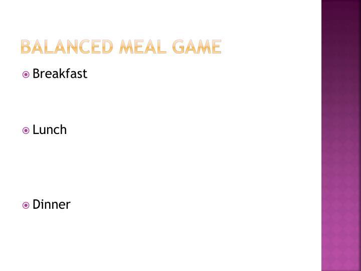 Balanced Meal Game
