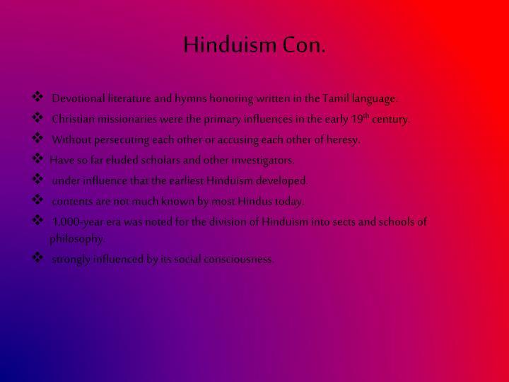 Hinduism Con.