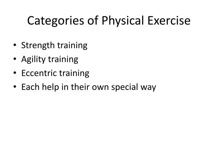 Categories of Physical Exercise