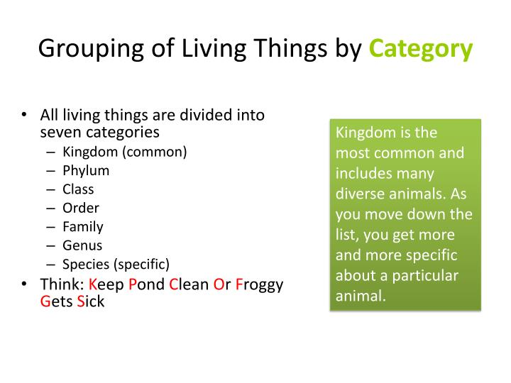Grouping of Living Things by