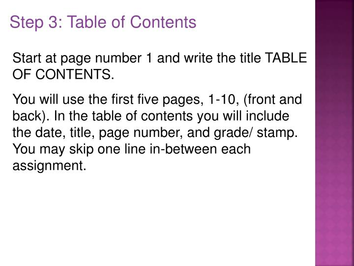Step 3: Table of Contents