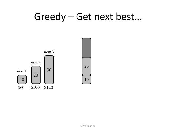 Greedy – Get next best…
