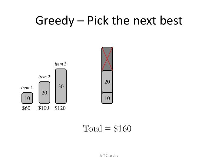 Greedy – Pick the next best