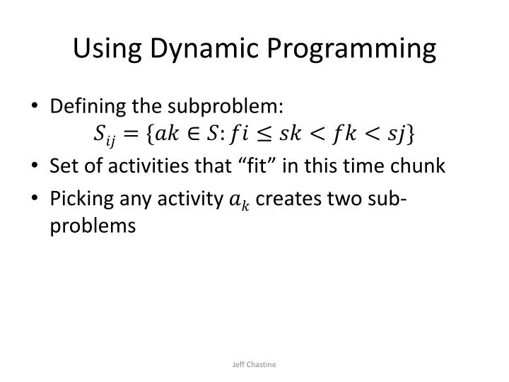 Using Dynamic Programming