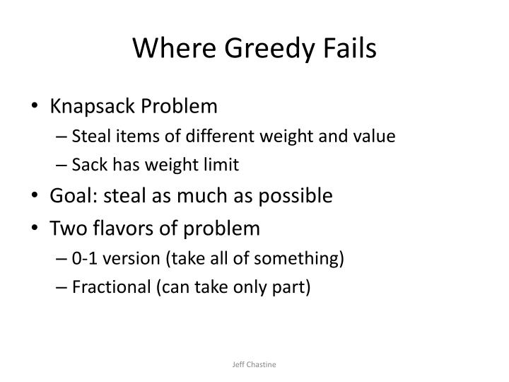 Where Greedy Fails