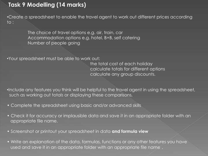Task 9 Modelling (14 marks)