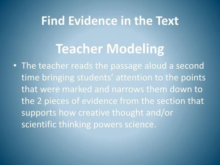 Find Evidence in the Text