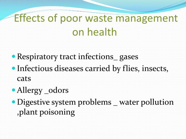 Effects of poor waste management