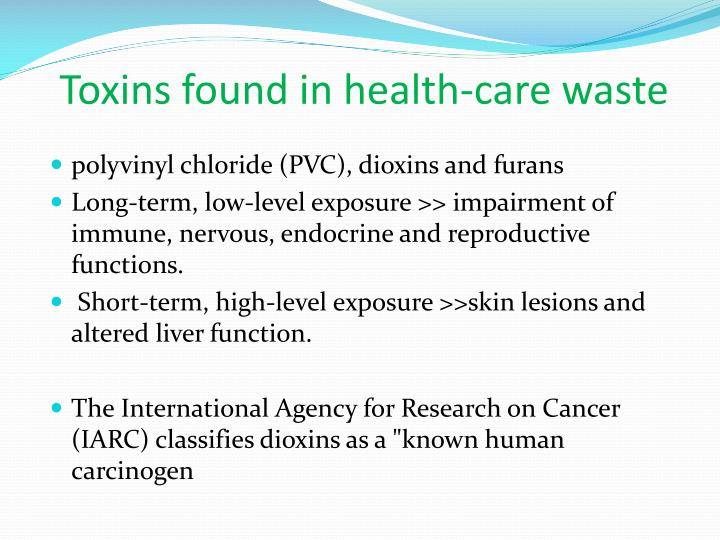 Toxins found in health-care waste