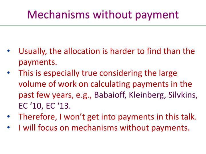Mechanisms without payment