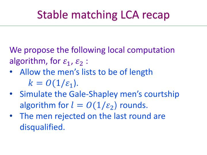 Stable matching LCA recap