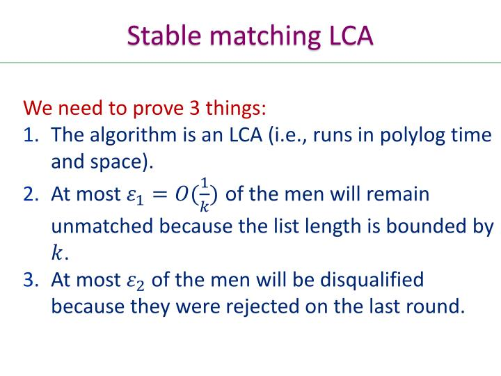 Stable matching LCA