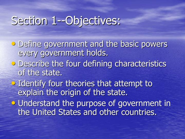 Section 1--Objectives: