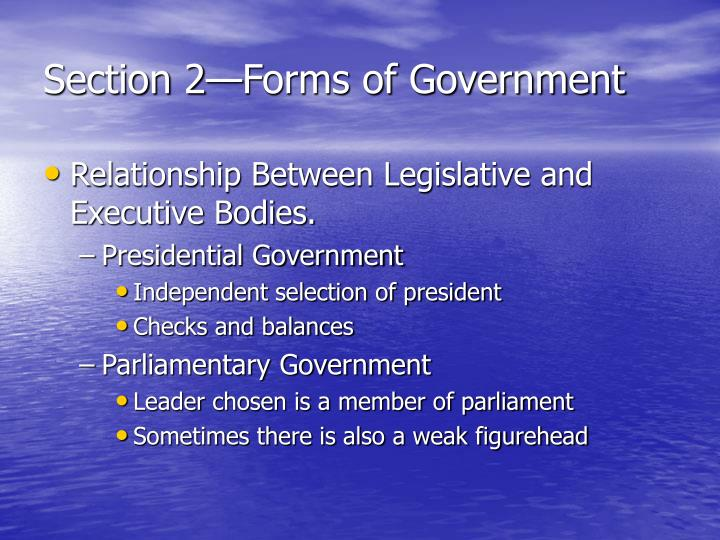 Section 2—Forms of Government