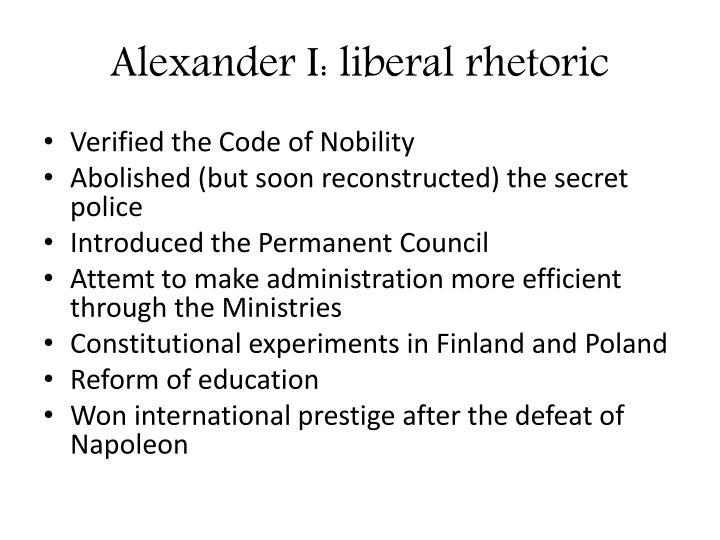 Alexander I: liberal