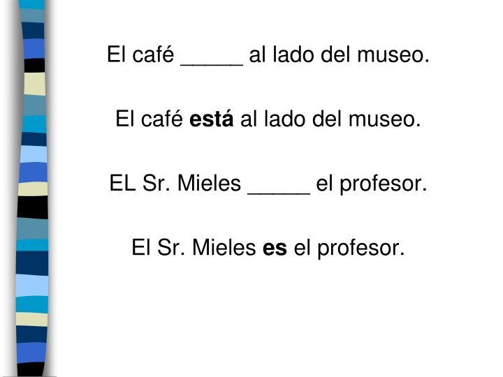 El café _____ al lado del museo.