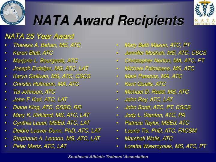 NATA Award Recipients