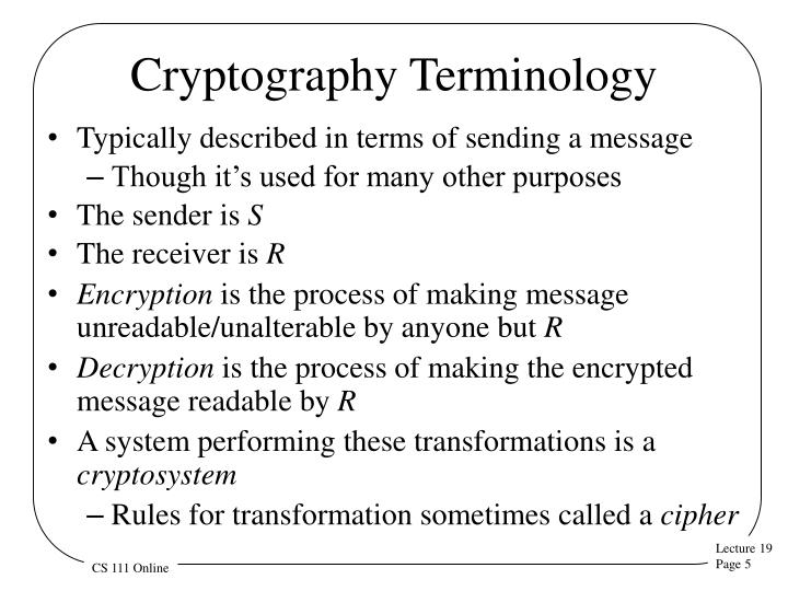 Cryptography Terminology
