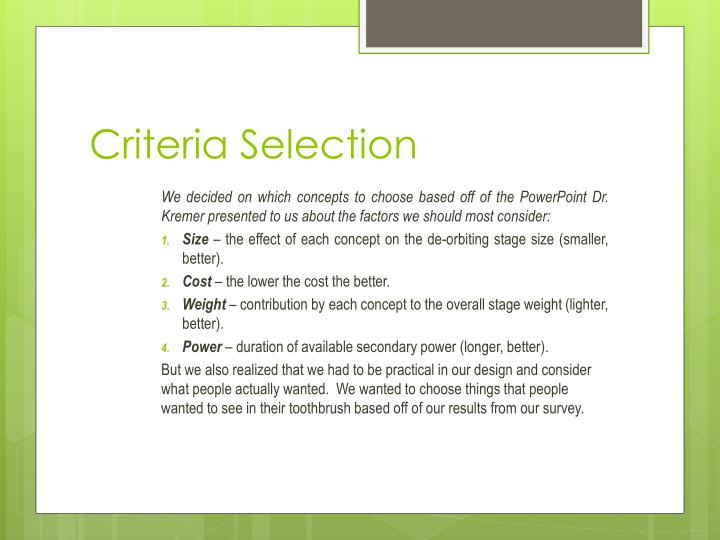 Criteria Selection