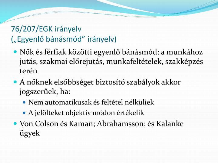 76/207/EGK irányelv