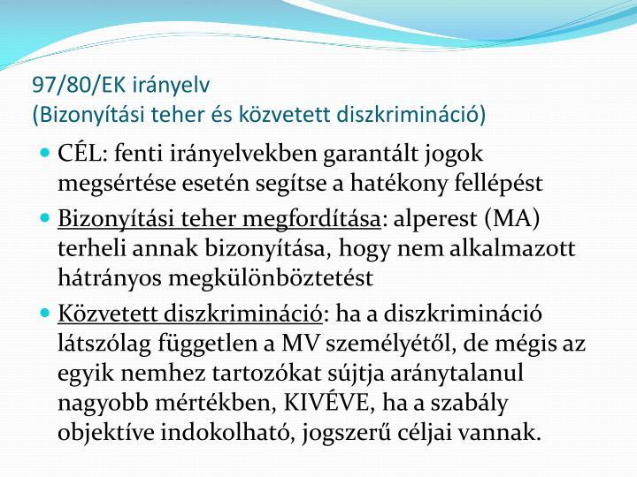97/80/EK irányelv