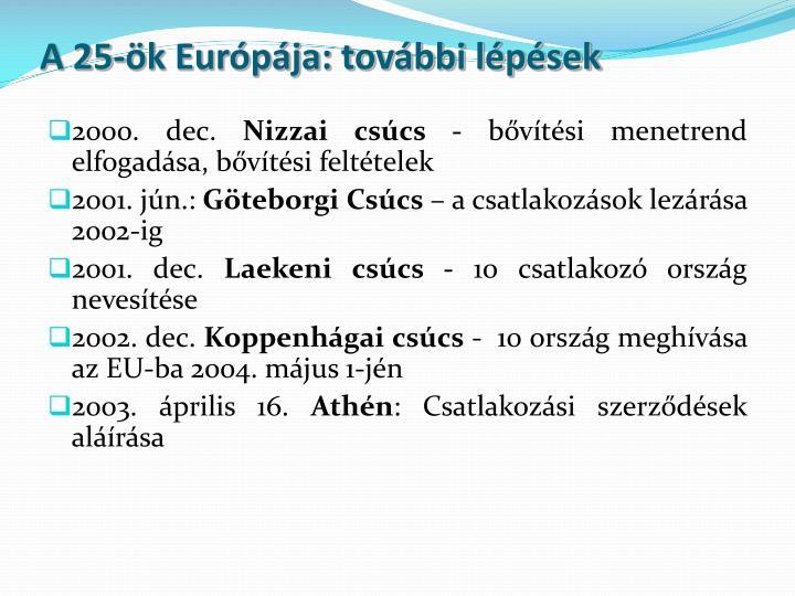 A 25-ök Európája: további lépések