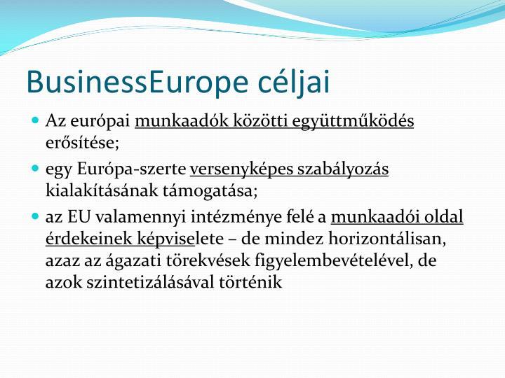 BusinessEurope céljai