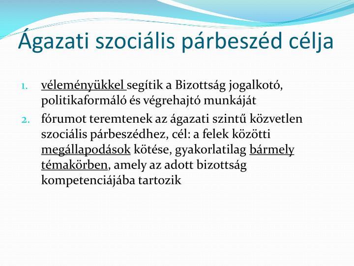 Ágazati szociális párbeszéd célja