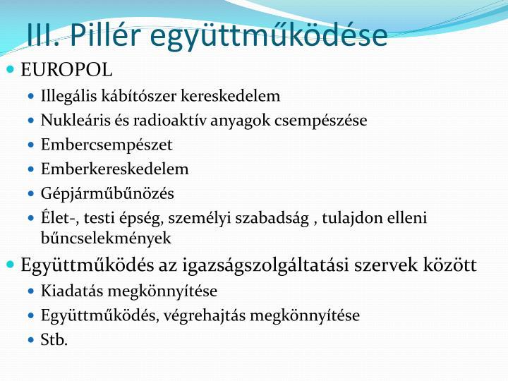 III. Pillér együttműködése