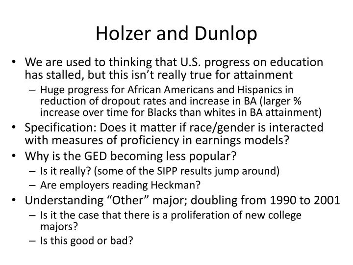 Holzer and dunlop