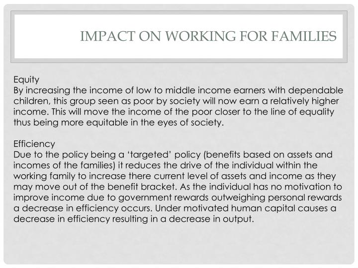 Impact on working for families