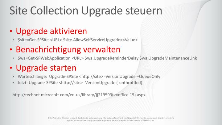 Site Collection Upgrade steuern