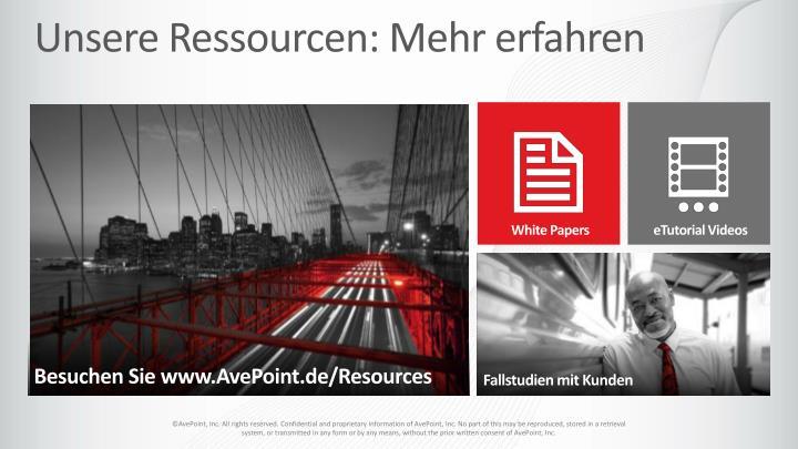 Unsere Ressourcen: Mehr erfahren