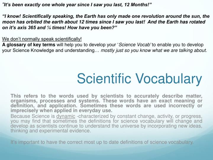 Scientific vocabulary