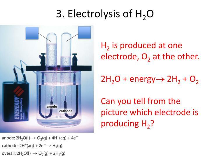 3. Electrolysis of H